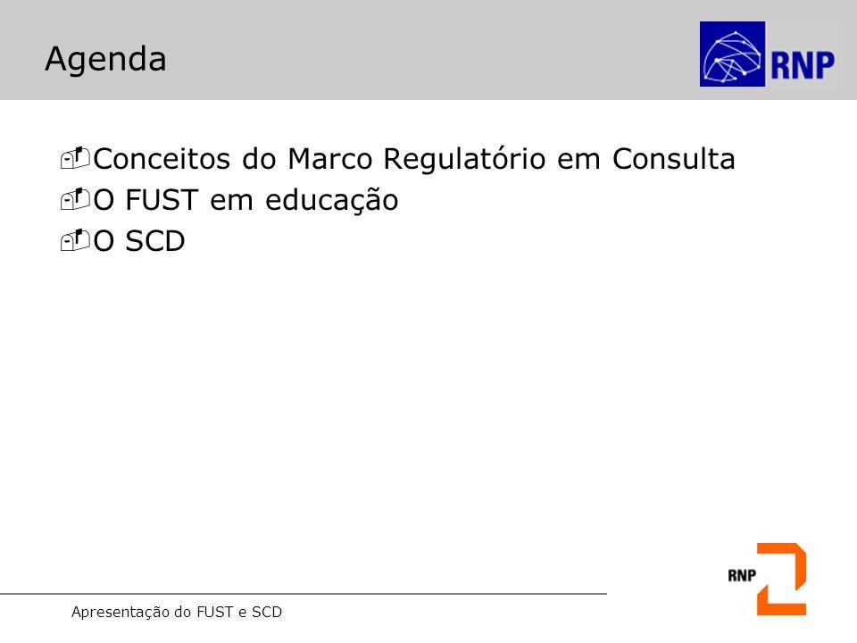 Apresentação do FUST e SCD Agenda -Conceitos do Marco Regulatório em Consulta -O FUST em educação -O SCD