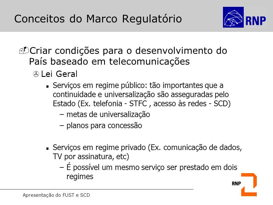Apresentação do FUST e SCD Conceitos do Marco Regulatório -Instrumentros para regulamentação do serviço >Plano Geral de Outorga (PGO) Estabelece os critérios normas para seu licenciamento pela Anatel (Ex.