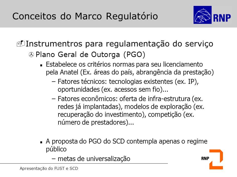 Apresentação do FUST e SCD Conceitos do Marco Regulatório -Instrumentros para regulamentação do serviço >Plano Geral de Metas de Universalização (PGMU) Assegura o direito de acesso ao serviço por pessoas e instituições de interesse público (Ex.