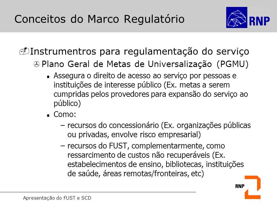 Apresentação do FUST e SCD Conceitos do Marco Regulatório -Instrumentros para regulamentação do serviço >Plano Geral de Metas de Universalização (PGMU