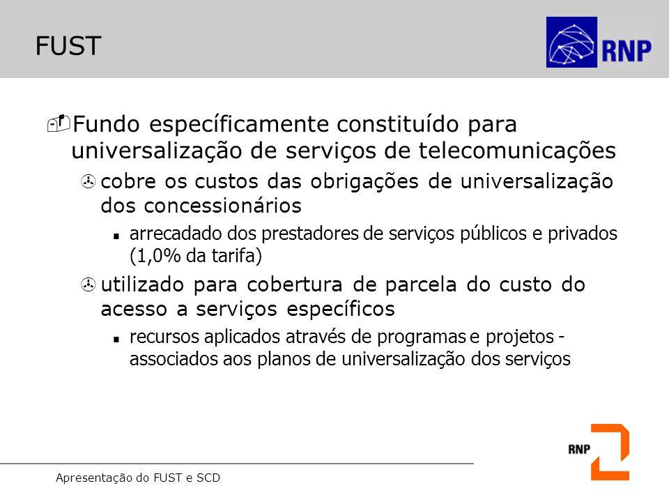 Apresentação do FUST e SCD FUST -Fundo específicamente constituído para universalização de serviços de telecomunicações >cobre os custos das obrigaçõe