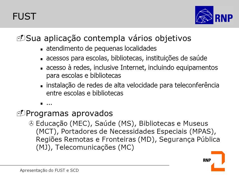 Apresentação do FUST e SCD FUST -Para educação o FUST é: Programa Educação (2001): acesso a serviços públicos de telecomunicações por escolas: (ex.