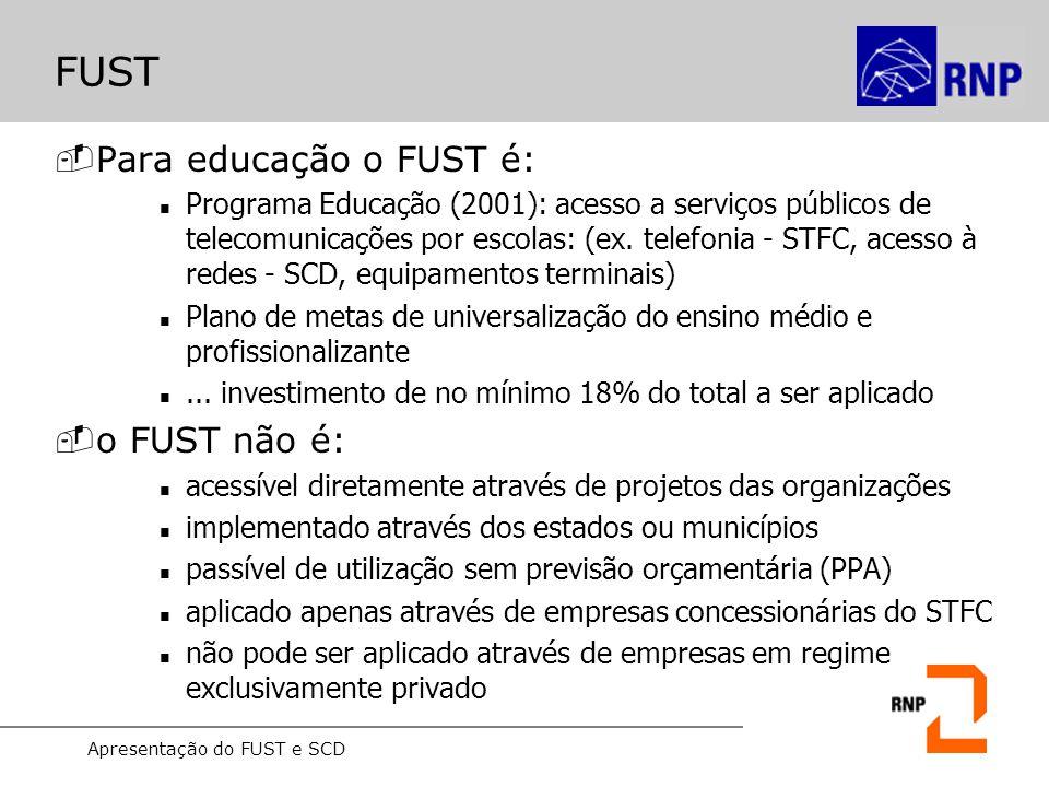 Apresentação do FUST e SCD FUST -Para educação o FUST é: Programa Educação (2001): acesso a serviços públicos de telecomunicações por escolas: (ex. te