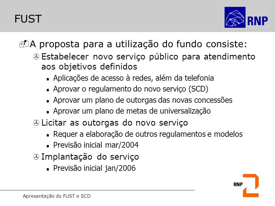 Apresentação do FUST e SCD FUST -A proposta para a utilização do fundo consiste: >Estabelecer novo serviço público para atendimento aos objetivos defi