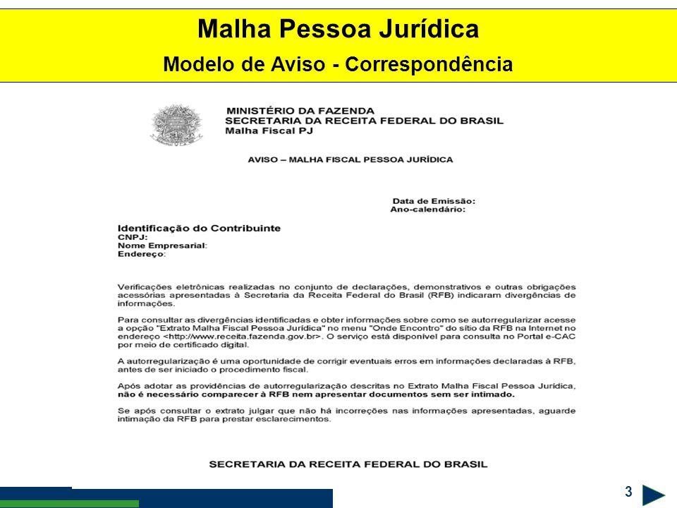 3 ! #$% & Malha Pessoa Jurídica Modelo de Aviso - Correspondência