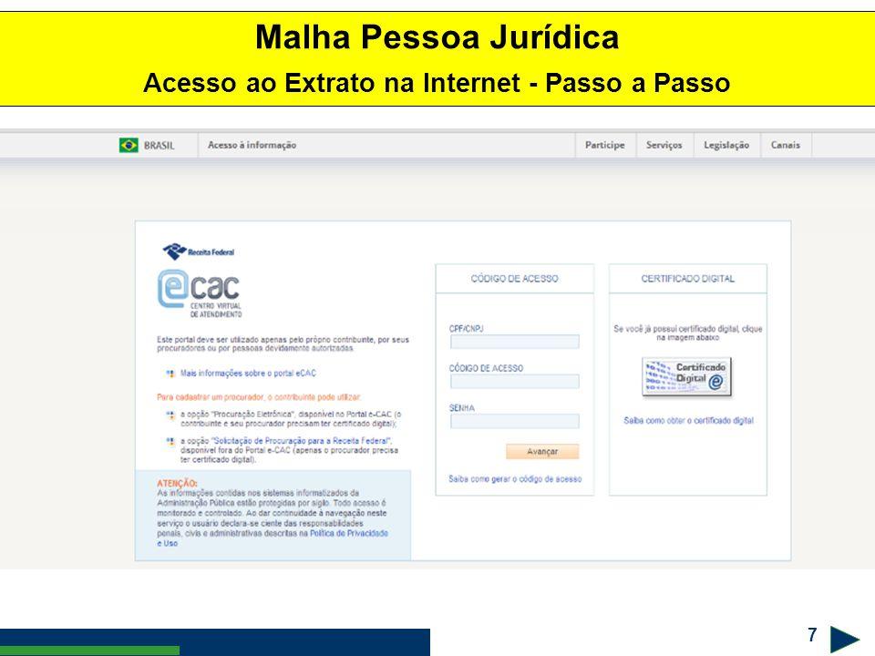 7 ! #$% & Malha Pessoa Jurídica Acesso ao Extrato na Internet - Passo a Passo