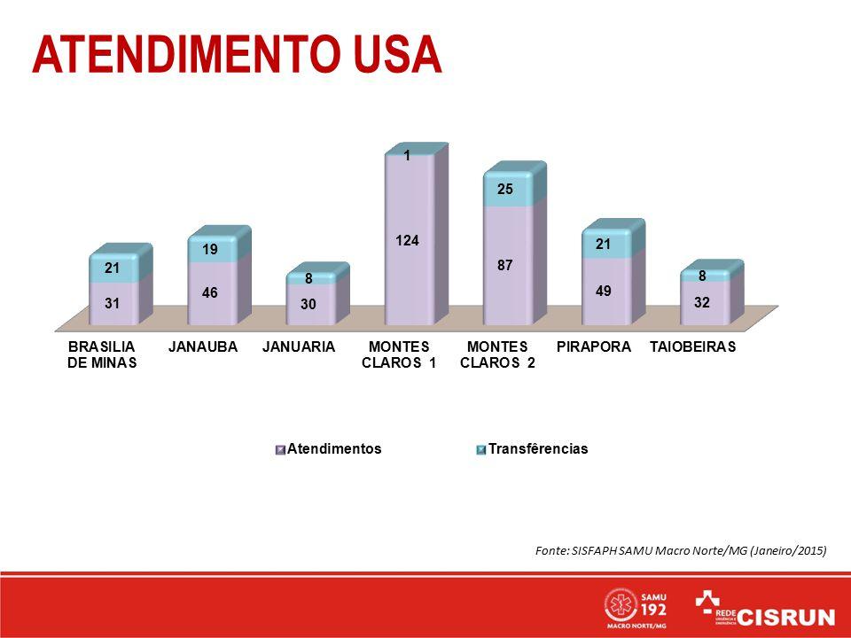 ATENDIMENTO USA Fonte: SISFAPH SAMU Macro Norte/MG (Janeiro/2015)