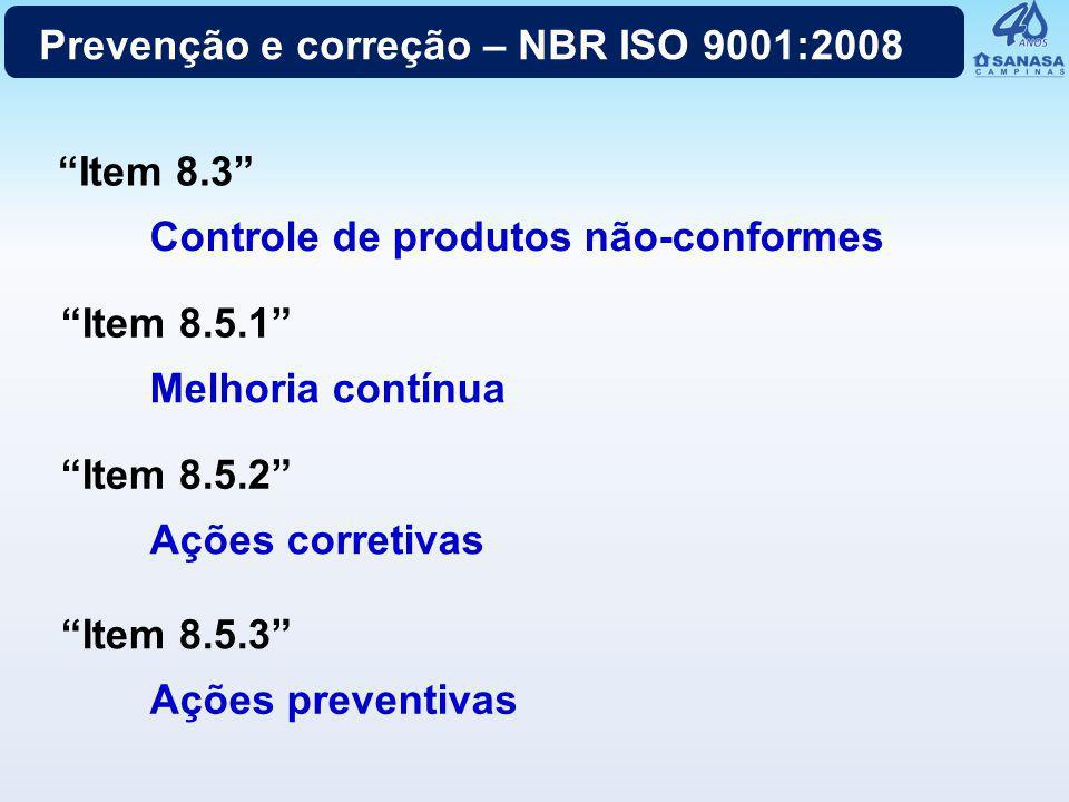 """Prevenção e correção – NBR ISO 9001:2008 """"Item 8.3"""" Controle de produtos não-conformes """"Item 8.5.1"""" Melhoria contínua """"Item 8.5.2"""" Ações corretivas """"I"""