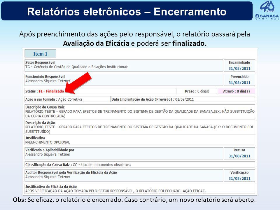 Relatórios eletrônicos – consulta
