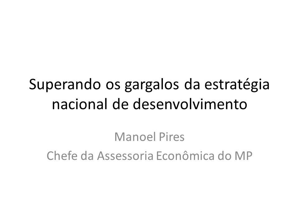 Superando os gargalos da estratégia nacional de desenvolvimento Manoel Pires Chefe da Assessoria Econômica do MP