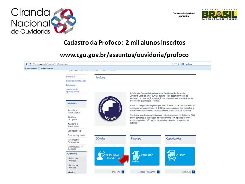 Cadastro da Profoco: 2 mil alunos inscritos www.cgu.gov.br/assuntos/ouvidoria/profoco