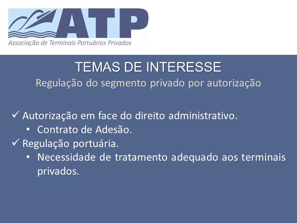 TEMAS DE INTERESSE Regulação do segmento privado por autorização Autorização em face do direito administrativo.