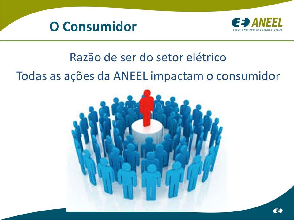 O Consumidor Razão de ser do setor elétrico Todas as ações da ANEEL impactam o consumidor