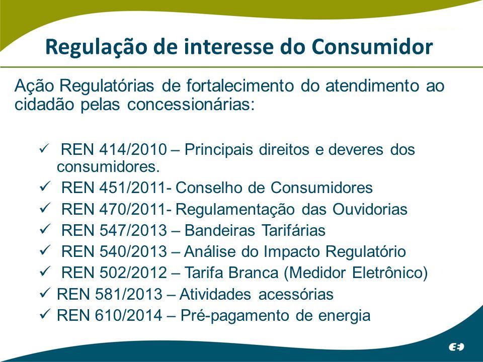 Regulação de interesse do Consumidor Ação Regulatórias de fortalecimento do atendimento ao cidadão pelas concessionárias: REN 414/2010 – Principais direitos e deveres dos consumidores.