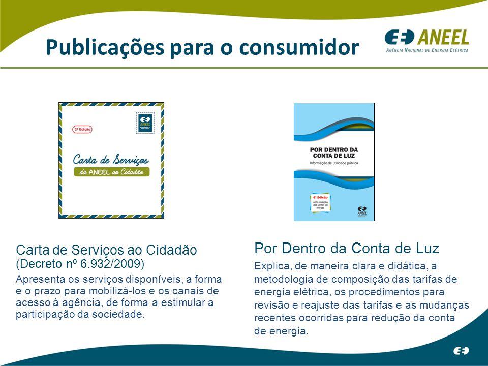 Publicações para o consumidor Carta de Serviços ao Cidadão (Decreto nº 6.932/2009) Apresenta os serviços disponíveis, a forma e o prazo para mobilizá-los e os canais de acesso à agência, de forma a estimular a participação da sociedade.