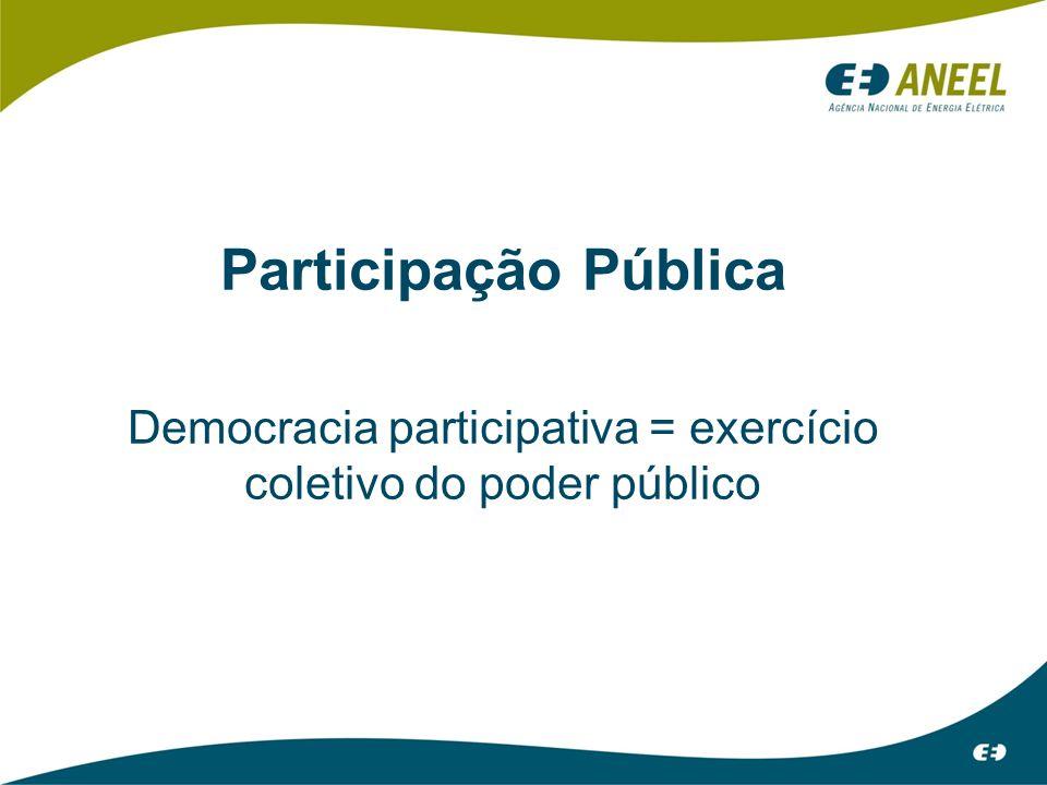 Participação Pública Democracia participativa = exercício coletivo do poder público