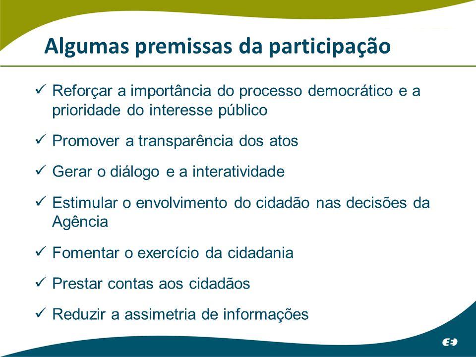 Algumas premissas da participação Reforçar a importância do processo democrático e a prioridade do interesse público Promover a transparência dos atos Gerar o diálogo e a interatividade Estimular o envolvimento do cidadão nas decisões da Agência Fomentar o exercício da cidadania Prestar contas aos cidadãos Reduzir a assimetria de informações