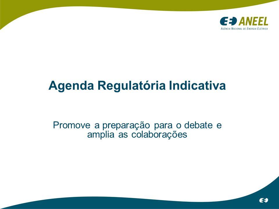 Agenda Regulatória Indicativa Promove a preparação para o debate e amplia as colaborações