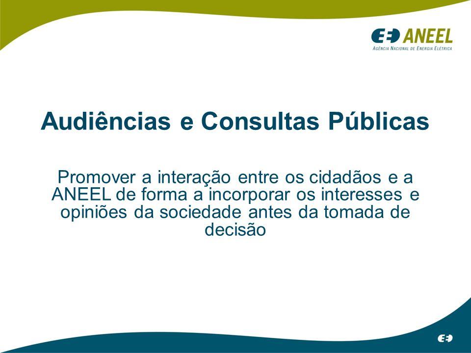 Audiências e Consultas Públicas Promover a interação entre os cidadãos e a ANEEL de forma a incorporar os interesses e opiniões da sociedade antes da tomada de decisão