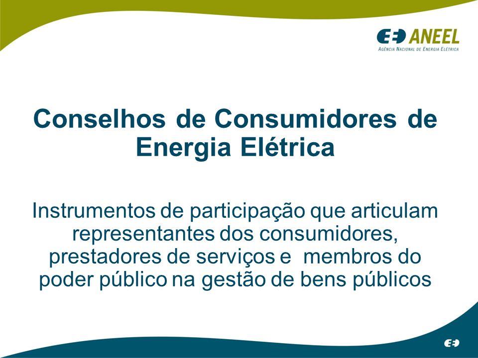 Conselhos de Consumidores de Energia Elétrica Instrumentos de participação que articulam representantes dos consumidores, prestadores de serviços e membros do poder público na gestão de bens públicos
