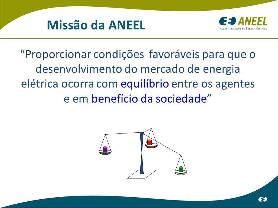 Missão da ANEEL Proporcionar condições favoráveis para que o desenvolvimento do mercado de energia elétrica ocorra com equilíbrio entre os agentes e em benefício da sociedade