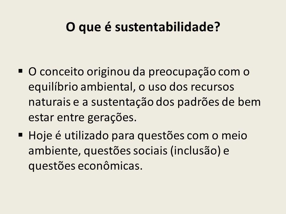 O que é sustentabilidade?  O conceito originou da preocupação com o equilíbrio ambiental, o uso dos recursos naturais e a sustentação dos padrões de