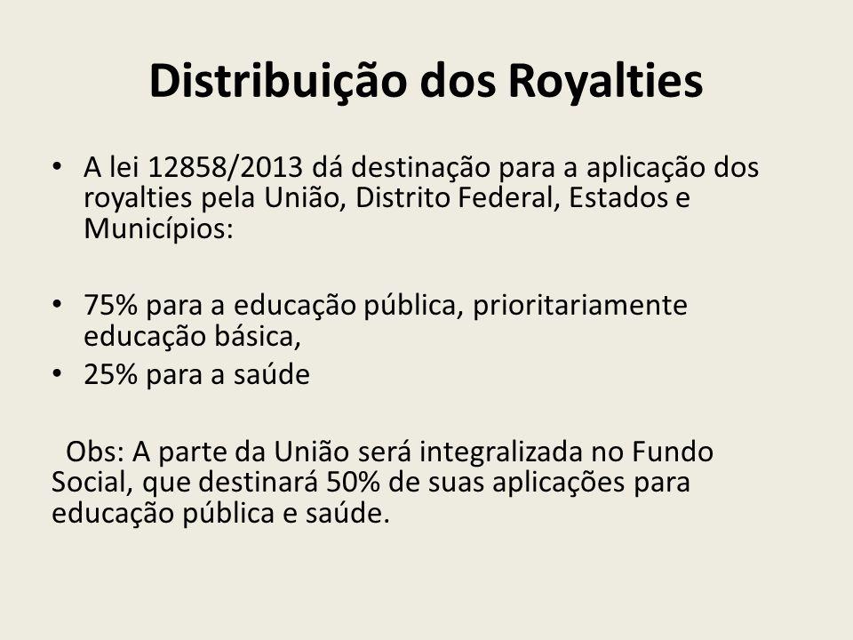 Distribuição dos Royalties A lei 12858/2013 dá destinação para a aplicação dos royalties pela União, Distrito Federal, Estados e Municípios: 75% para