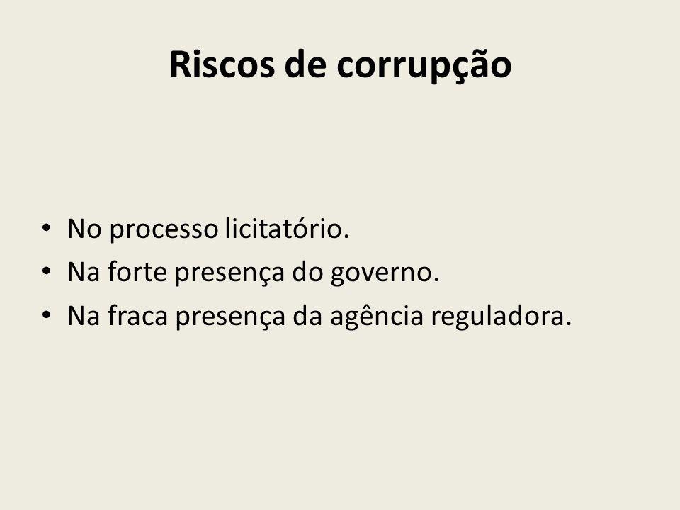 Riscos de corrupção No processo licitatório. Na forte presença do governo. Na fraca presença da agência reguladora.