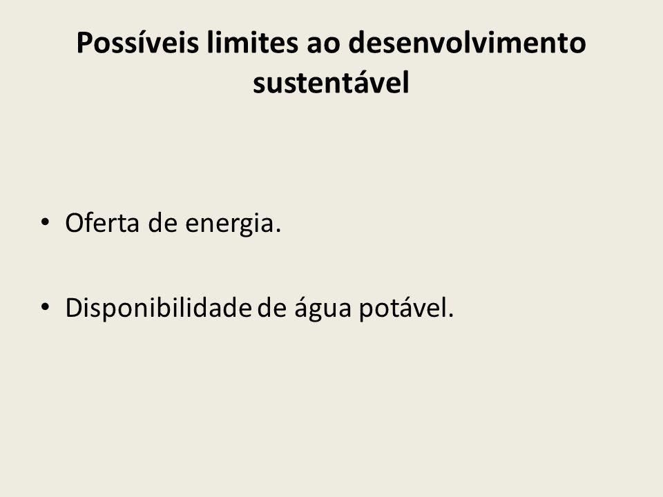 Possíveis limites ao desenvolvimento sustentável Oferta de energia. Disponibilidade de água potável.