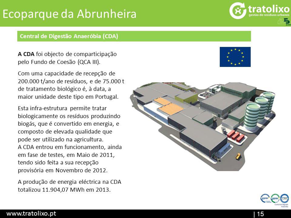 Aterro Sanitário (em construção) ETAR I Central de Digestão Anaeróbia Ecocentr o | 15 Título www.tratolixo.pt Ecoparque da Abrunheira Central de Digestão Anaeróbia (CDA) A CDA foi objecto de comparticipação pelo Fundo de Coesão (QCA III).