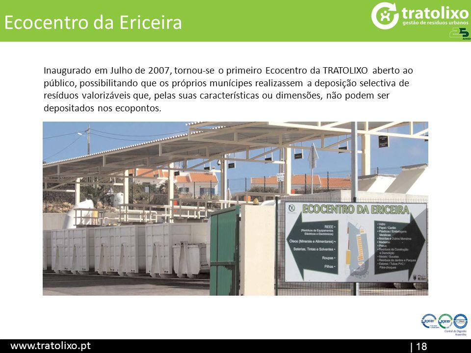 Aterro Sanitário (em construção) ETAR I Central de Digestão Anaeróbia Ecocentr o | 18 Título www.tratolixo.pt Ecocentro da Ericeira Inaugurado em Julh