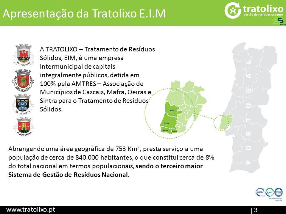 | 3 Apresentação da Tratolixo E.I.M www.tratolixo.pt A TRATOLIXO – Tratamento de Resíduos Sólidos, EIM, é uma empresa intermunicipal de capitais integralmente públicos, detida em 100% pela AMTRES – Associação de Municípios de Cascais, Mafra, Oeiras e Sintra para o Tratamento de Resíduos Sólidos.