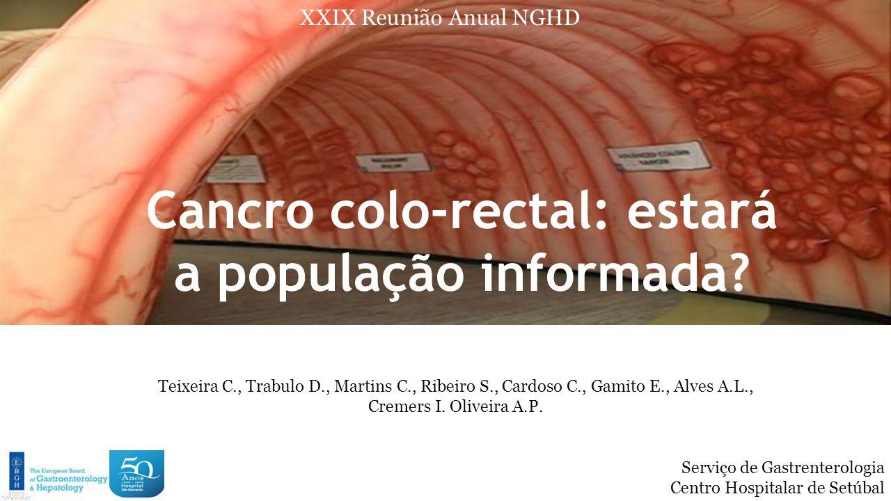 Introdução  O cancro colo-rectal (CCR) é a 2ª neoplasia mais frequente em Portugal  Primeira causa de morte por cancro em Portugal, com uma mortalidade que atinge 50% da sua incidência.
