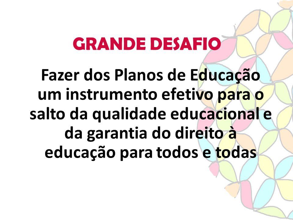 GRANDE DESAFIO Fazer dos Planos de Educação um instrumento efetivo para o salto da qualidade educacional e da garantia do direito à educação para todos e todas