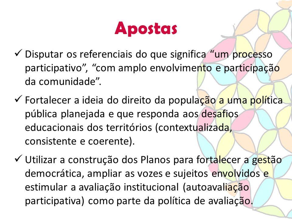 Apostas Disputar os referenciais do que significa um processo participativo , com amplo envolvimento e participação da comunidade .