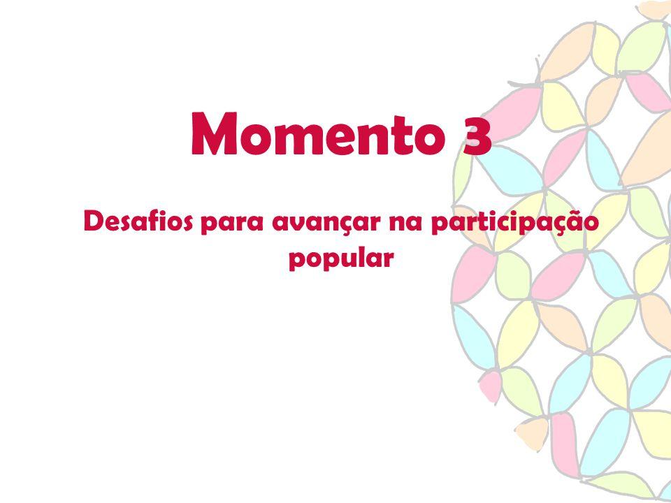 Momento 3 Desafios para avançar na participação popular