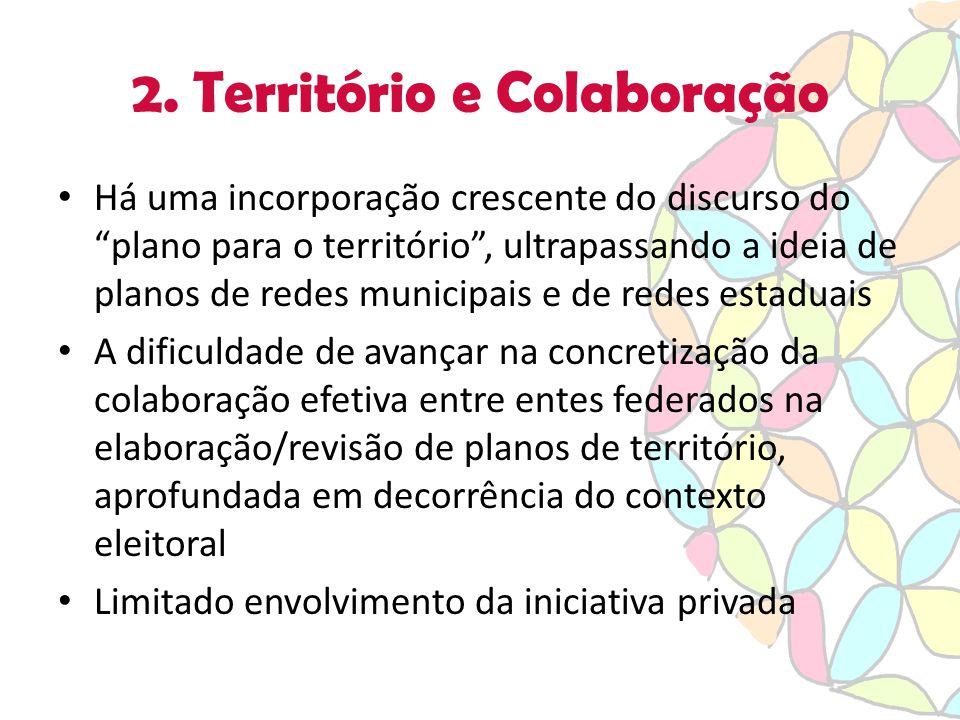 """2. Território e Colaboração Há uma incorporação crescente do discurso do """"plano para o território"""", ultrapassando a ideia de planos de redes municipai"""