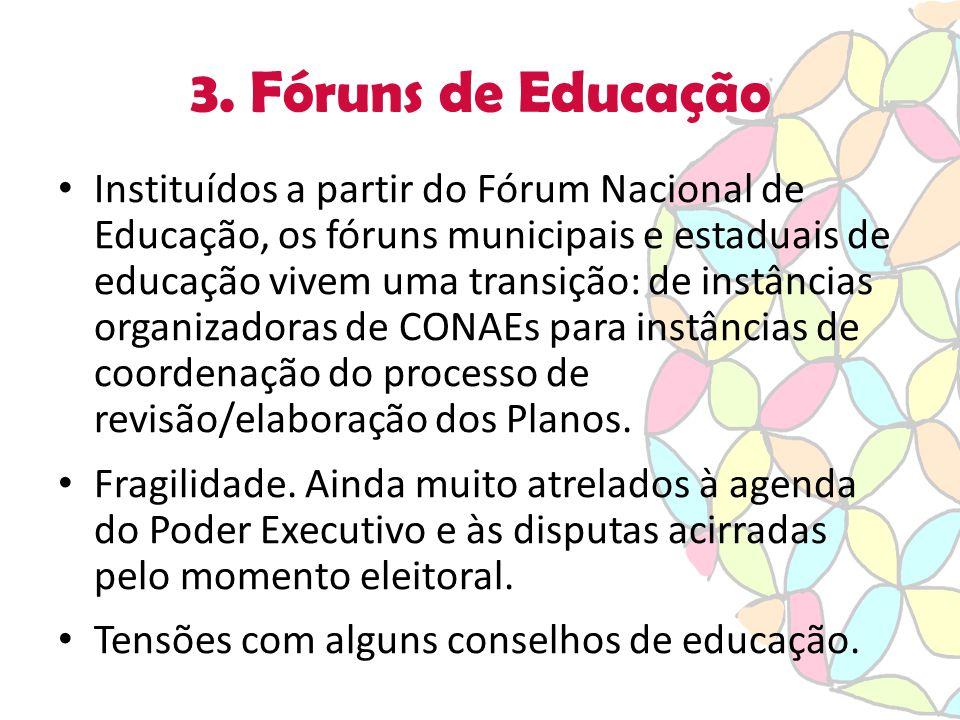 3. Fóruns de Educação Instituídos a partir do Fórum Nacional de Educação, os fóruns municipais e estaduais de educação vivem uma transição: de instânc