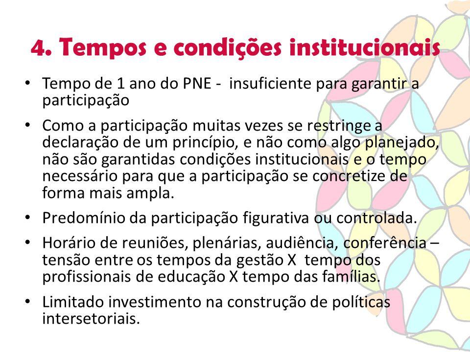 4. Tempos e condições institucionais Tempo de 1 ano do PNE - insuficiente para garantir a participação Como a participação muitas vezes se restringe a