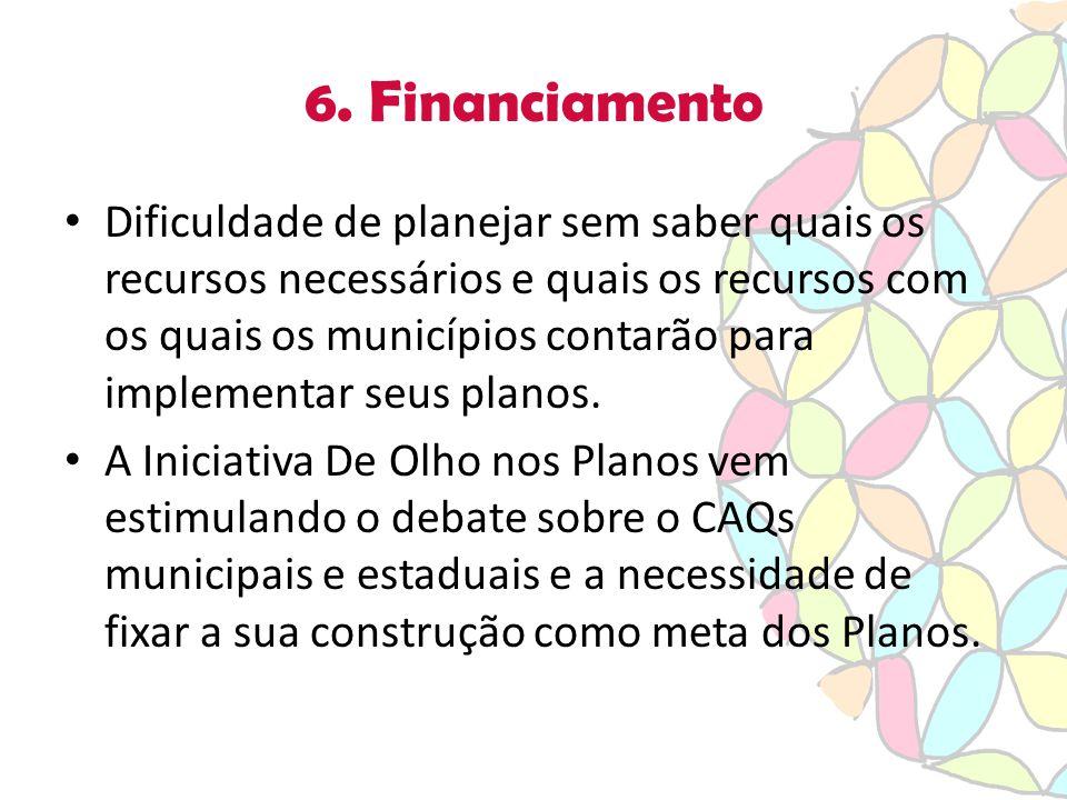 6. Financiamento Dificuldade de planejar sem saber quais os recursos necessários e quais os recursos com os quais os municípios contarão para implemen