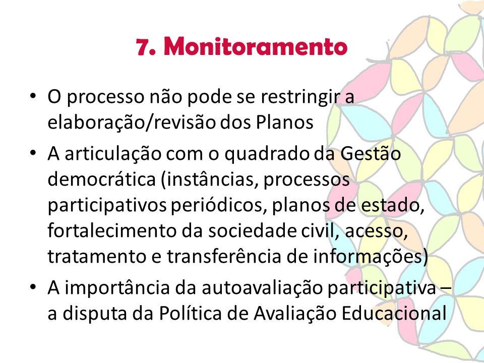 7. Monitoramento O processo não pode se restringir a elaboração/revisão dos Planos A articulação com o quadrado da Gestão democrática (instâncias, pro