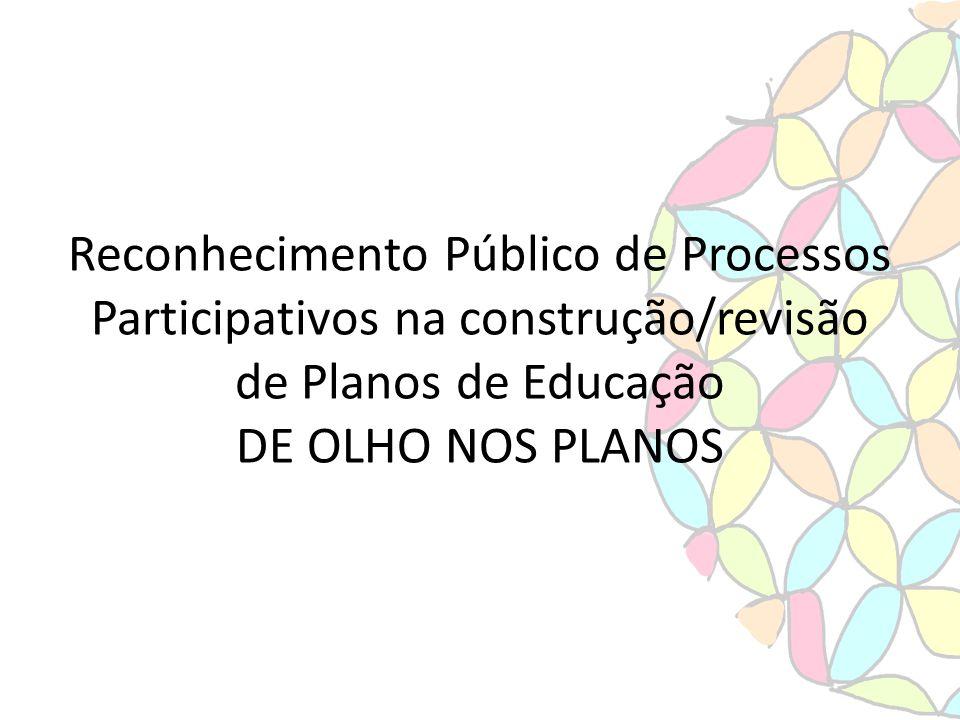 Reconhecimento Público de Processos Participativos na construção/revisão de Planos de Educação DE OLHO NOS PLANOS