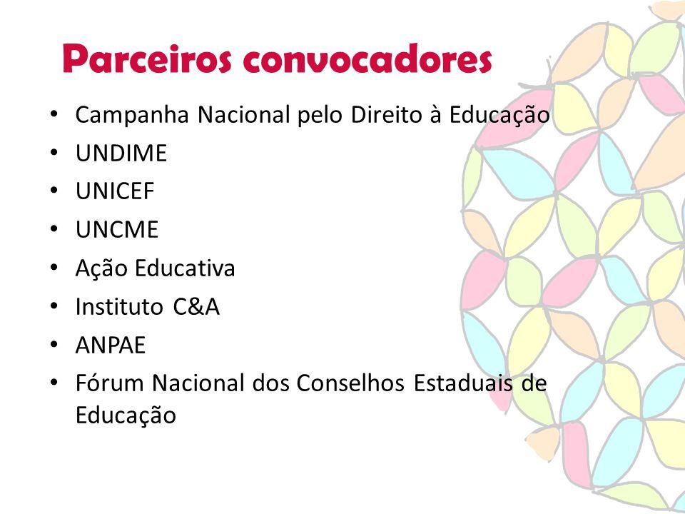 Parceiros convocadores Campanha Nacional pelo Direito à Educação UNDIME UNICEF UNCME Ação Educativa Instituto C&A ANPAE Fórum Nacional dos Conselhos Estaduais de Educação