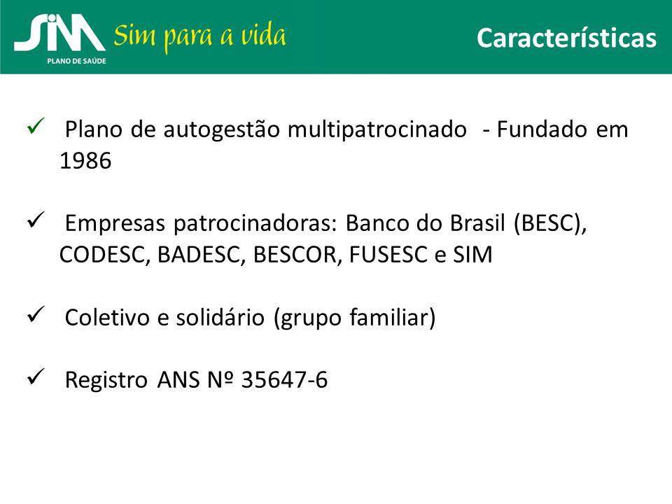 Plano de autogestão multipatrocinado - Fundado em 1986 Empresas patrocinadoras: Banco do Brasil (BESC), CODESC, BADESC, BESCOR, FUSESC e SIM Coletivo
