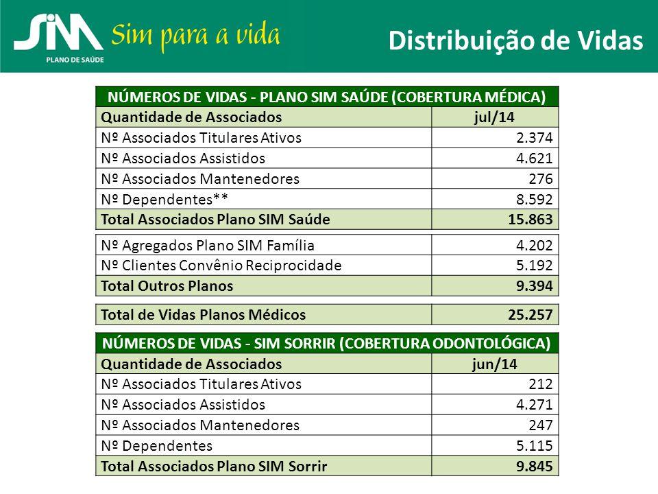 Distribuição de Vidas NÚMEROS DE VIDAS - PLANO SIM SAÚDE (COBERTURA MÉDICA) Quantidade de Associadosjul/14 Nº Associados Titulares Ativos2.374 Nº Asso