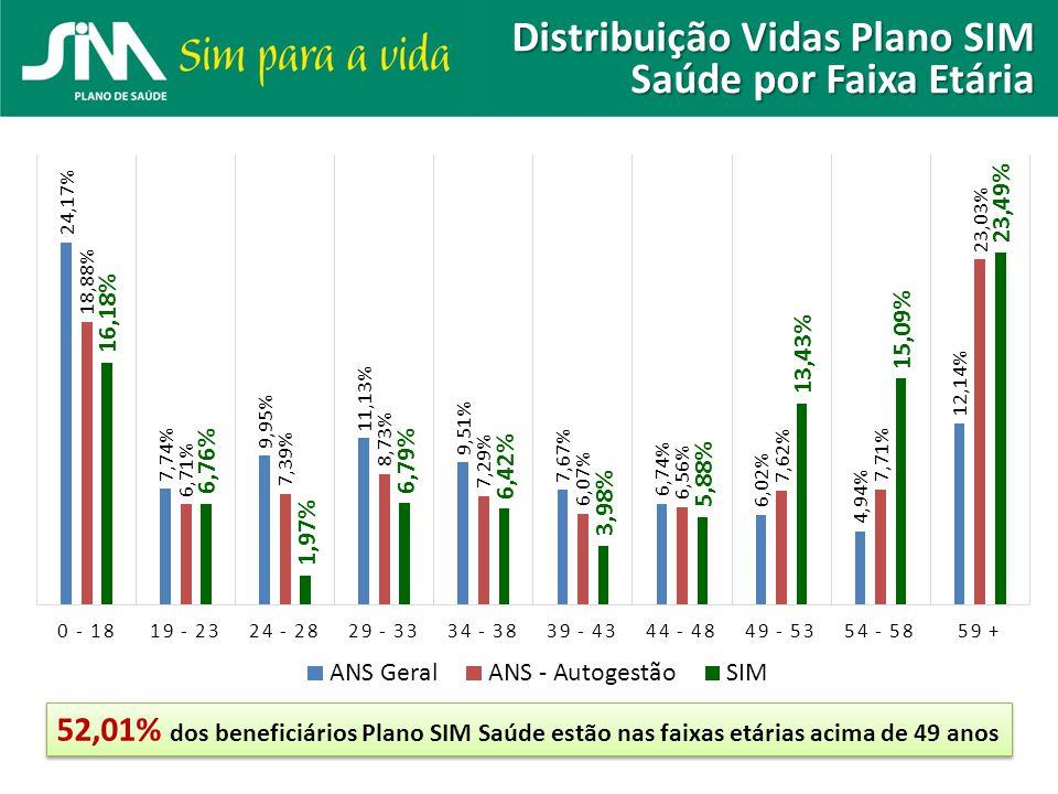 Distribuição Vidas Plano SIM Saúde por Faixa Etária 52,01% dos beneficiários Plano SIM Saúde estão nas faixas etárias acima de 49 anos