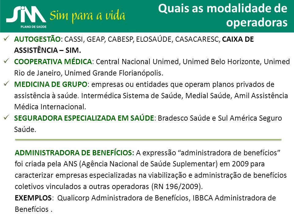 Quais as modalidade de operadoras AUTOGESTÃO: CASSI, GEAP, CABESP, ELOSAÚDE, CASACARESC, CAIXA DE ASSISTÊNCIA – SIM. COOPERATIVA MÉDICA: Central Nacio