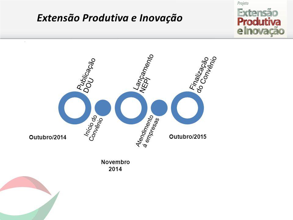 Extensão Produtiva e Inovação Publicação DOU Início do Convênio Lançamento NEPI Atendimento á empresas Finalização do Convênio Outubro/2014 Novembro 2014 Outubro/2015