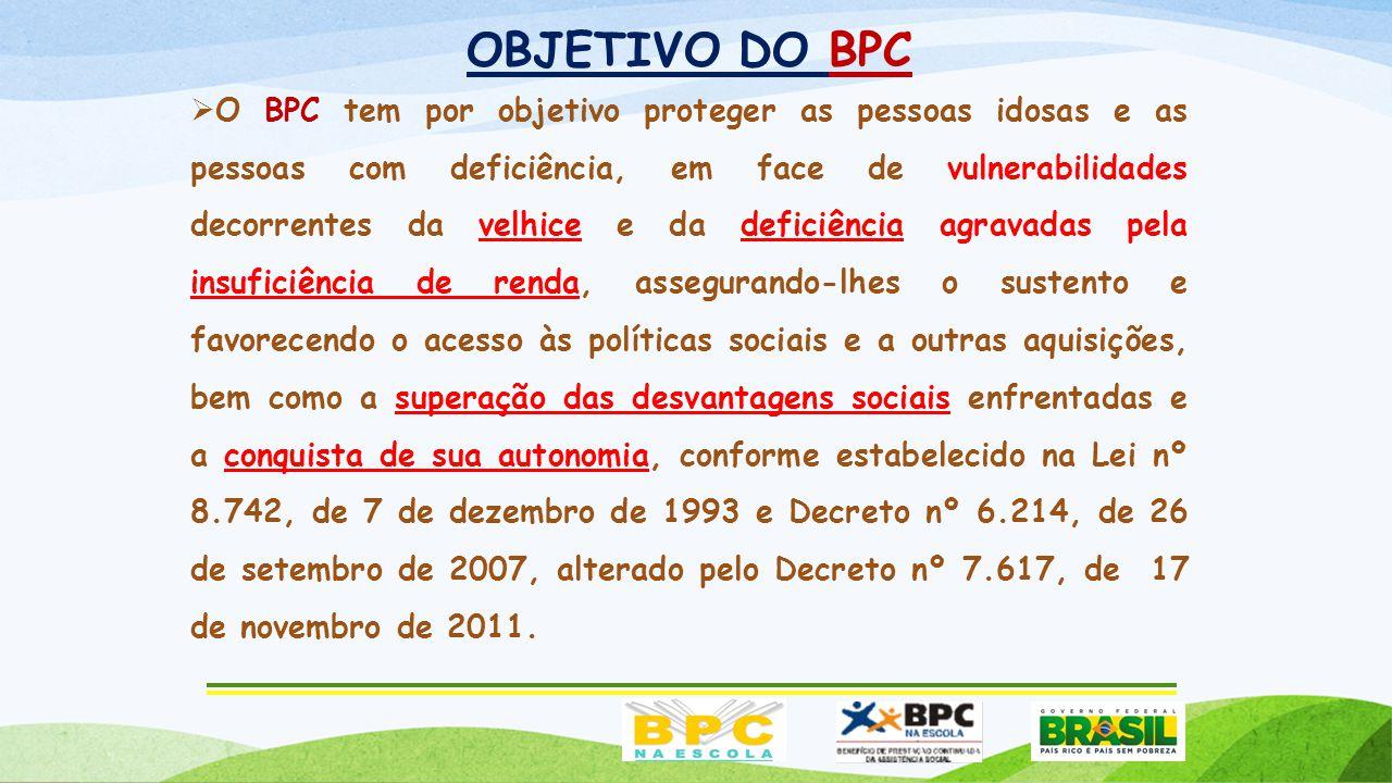 OBJETIVO DO BPC  O BPC tem por objetivo proteger as pessoas idosas e as pessoas com deficiência, em face de vulnerabilidades decorrentes da velhice e da deficiência agravadas pela insuficiência de renda, assegurando-lhes o sustento e favorecendo o acesso às políticas sociais e a outras aquisições, bem como a superação das desvantagens sociais enfrentadas e a conquista de sua autonomia, conforme estabelecido na Lei nº 8.742, de 7 de dezembro de 1993 e Decreto nº 6.214, de 26 de setembro de 2007, alterado pelo Decreto nº 7.617, de 17 de novembro de 2011.