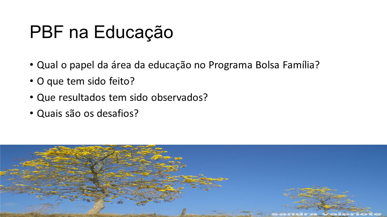 PBF na Educação Qual o papel da área da educação no Programa Bolsa Família.
